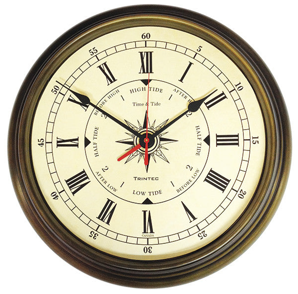 Brass Finish Compass Time & Tide Clock