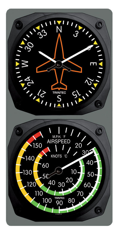 Classic Directional Gyro/Airspeed Clock & Thermometer Set - Trintec Industries Inc.