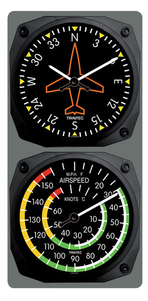 Classic Directional Gyro/Airspeed Clock & Thermometer Set