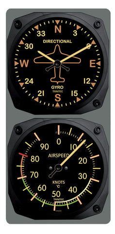 Vintage Directional Gyro/Airspeed Clock & Thermometer Set (°F or °C) - Trintec Industries Inc.