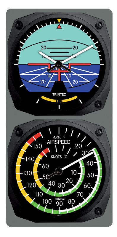 Classic Artificial Horizon/Airspeed Clock & Thermometer Set