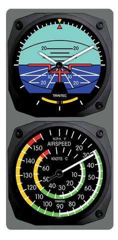 Classic Artificial Horizon/Airspeed Clock & Thermometer Set - Trintec Industries Inc.