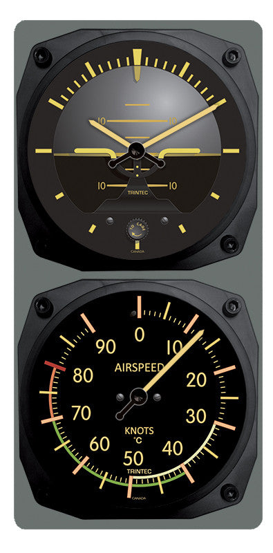 Vintage Artificial Horizon /Airspeed Clock & Thermometer Set (°F or °C) - Trintec Industries Inc.
