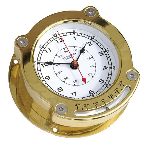Odyssey Brass Ship's Clock w/ Inclinometer - Trintec Industries Inc.