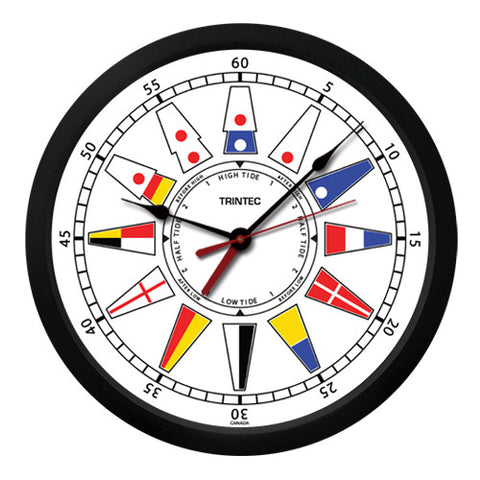 "10"" Nautical Flag Time & Tide Clock - Trintec Industries Inc."