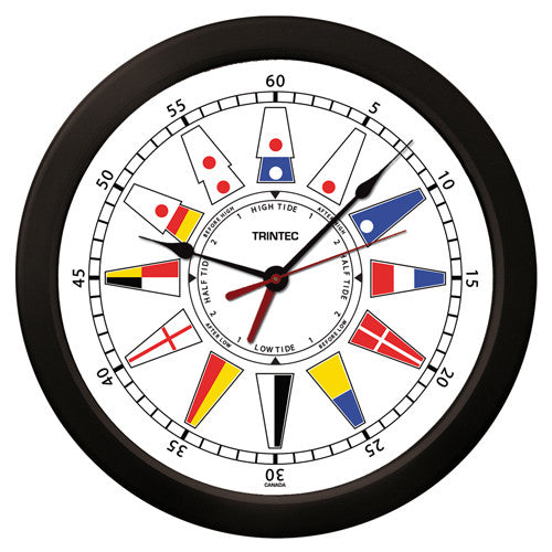 "14"" Nautical Flag Time & Tide Clock-W"