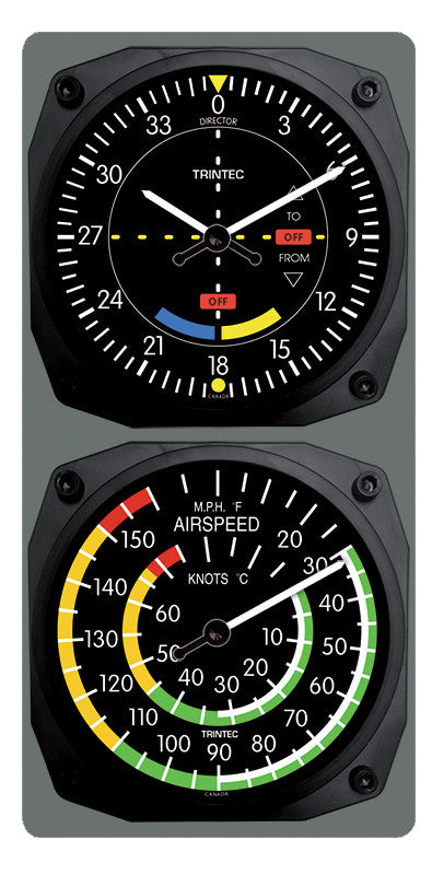 Classic VOR/Airspeed Clock & Thermometer Set - Trintec Industries Inc.