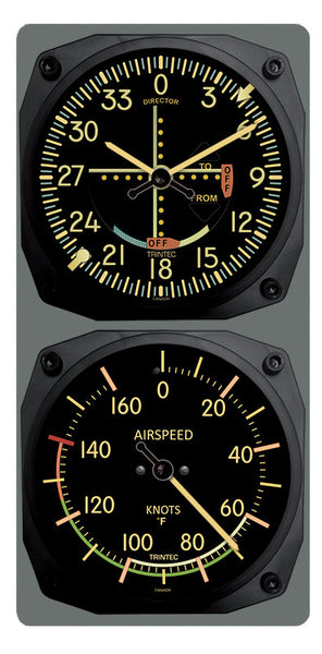 Vintage VOR/Airspeed Clock & Thermometer Set (°F or °C)