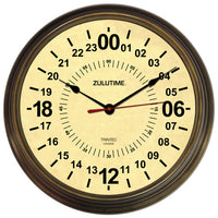 "14"" ZULUTIME™ Antique Brass 24-Hour Clock - Trintec Industries Inc."