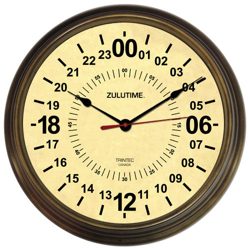 "14"" ZULUTIME™ Antique Brass 24-Hour Clock"