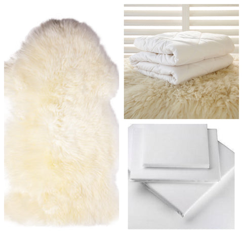 lambskin, wool bedding and egyptian cotton