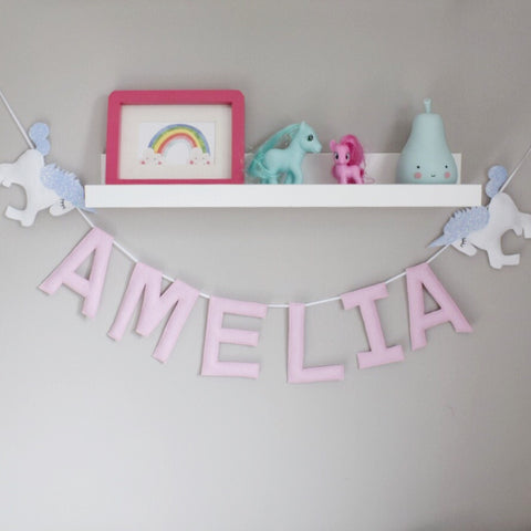 A special unicorn custom name bunting /garland /wall hanging, unicorn and custom name garland / bunting
