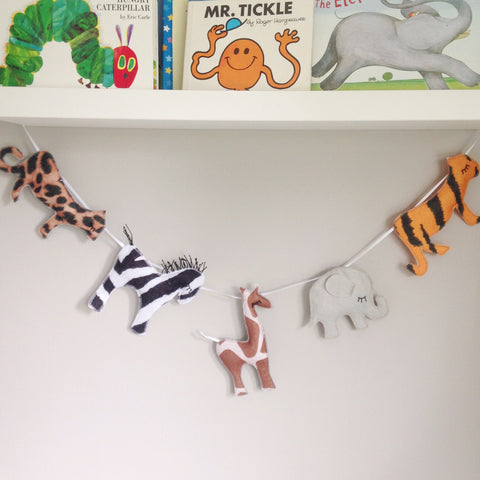 A safari garland, felt animals, giraffe, elephant and zebra bunting / garland