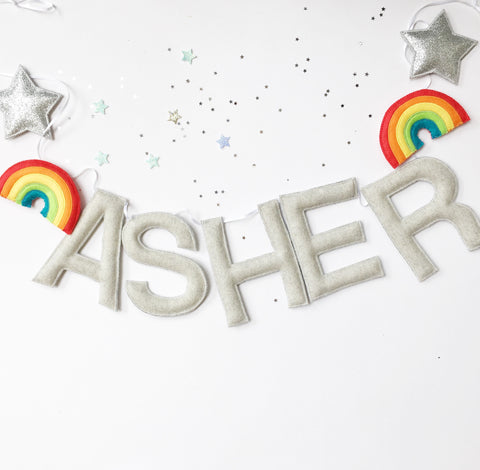 A rainbow custom name bunting /garland /wall hanging, stars and custom name garland / bunting