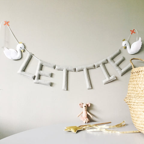 A white swan custom name bunting /garland / wall hanging,custom name garland / bunting