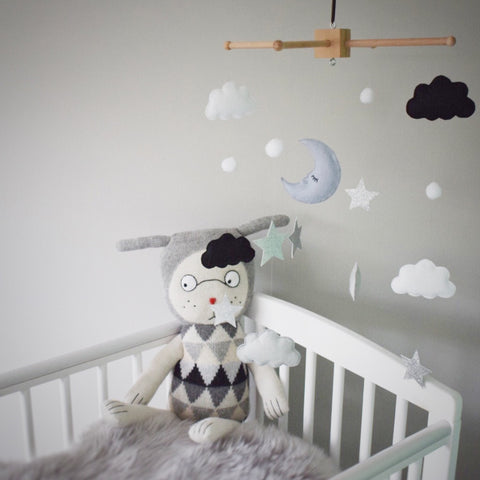 Baby monochrome black and white mobile, Moon, sparkly stars, pompoms and clouds