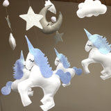 Baby Unicorn mobile, with four unicorns,moon, clouds, stars and Pom poms