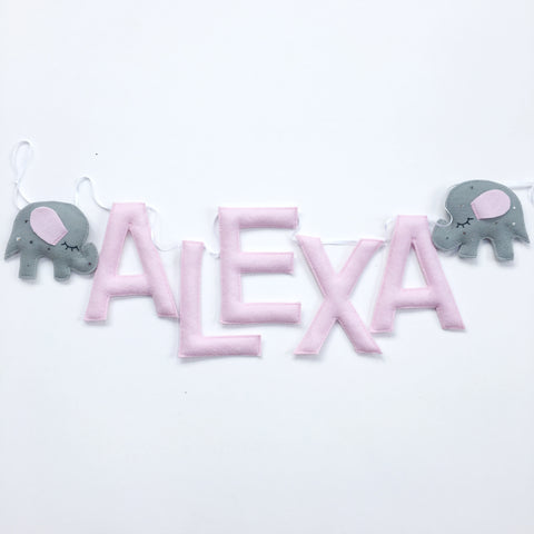 An elephant custom name bunting /garland /wall hanging, two elephants and custom name garland / bunting