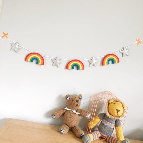 A rainbow and glitter star garland