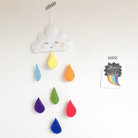 Cloud and raindrop colourful wall decal / hanging / baby mobile