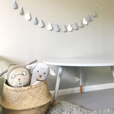 A large raindrop garland / bunting / wall or shelf hanging