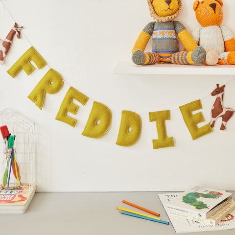 A safari theme custom name bunting /garland /wall hanging, giraffe and custom name garland / bunting