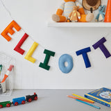 A Felt name bunting, hanging name garland / banner for nursery or bedroom