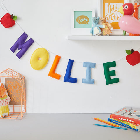 An apple name bunting, baby name garland
