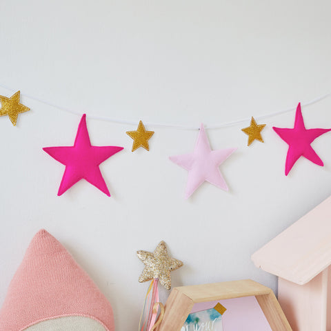 A Felt Star garland with glitter stars, star door hanger, grey nursery decor