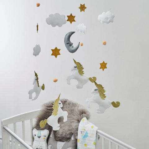 Baby Unicorn Mobile With Four Unicorns Moon Clouds