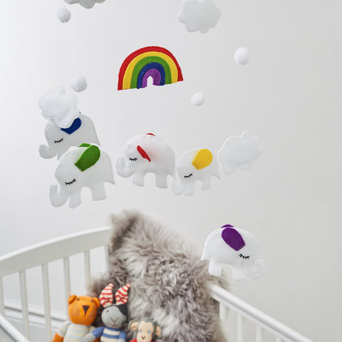 Colourful Elephant Rainbow And Cloud Mobile For Unisex