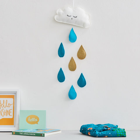 Cloud and raindrop wall decal / hanging / baby mobile in teal and gold glitter
