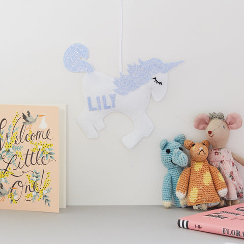 Sparkly unicorn door name hanger, hanging name sign for babies and children