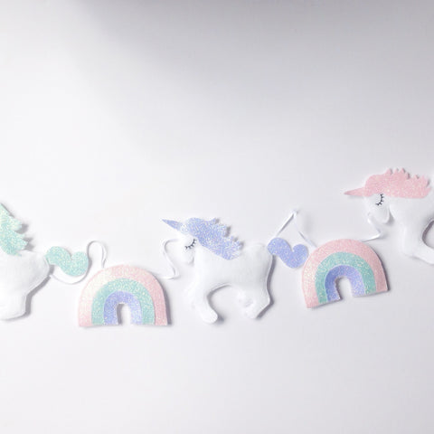 A Special unicorn garland with glitter rainbows, unicorn bunting, white unicorn nursery decor with glitter details
