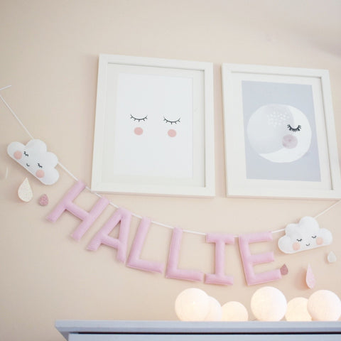 Sleepy Cloud and drops custom name bunting /garland / wall hanging custom name garland / bunting
