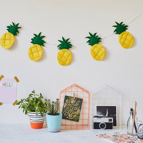 Pineapple wall garland, bunting, felt, contemporary nursery decor, fruit