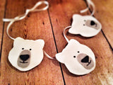 Three handmade felt polar bears, black and white nursery garland / bunting /decor