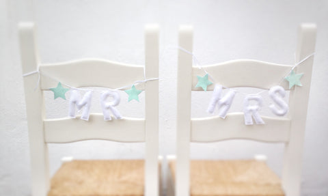 Mr and Mrs glitter star chair garlands