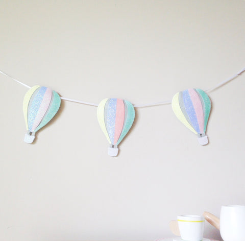 A glitter and felt hot air balloon garland