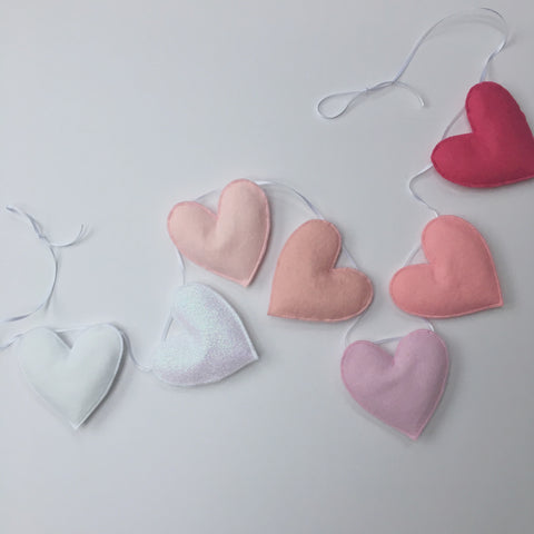 Ombré felt and glitter heart garland