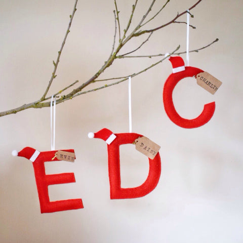Personalised felt letter tree decoration in red gift bag and FREE DELIVERY.