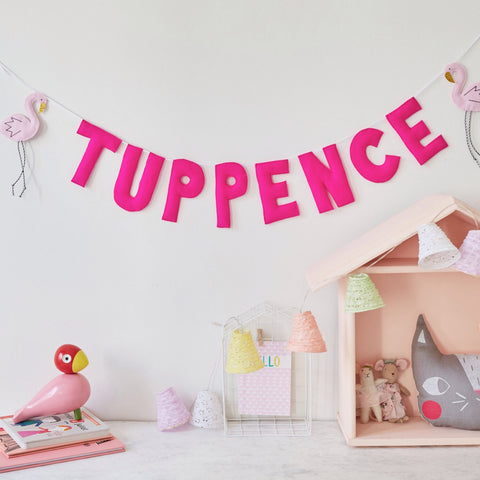 A flamingo custom name bunting /garland /wall hanging, flamingo and custom name garland / bunting