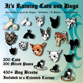 It's raining cats and dogs.