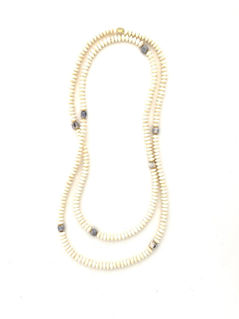 Long Wrap Necklace - white