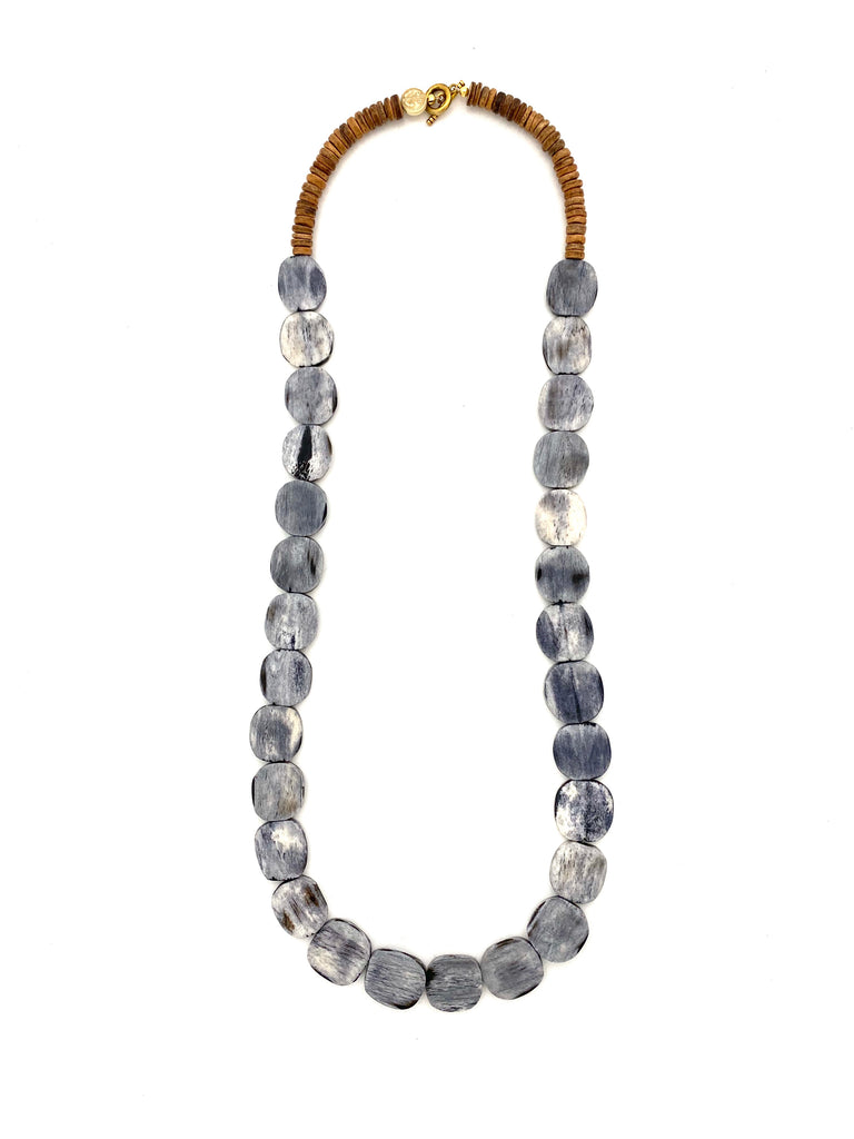 Bone Bead Necklace - gray