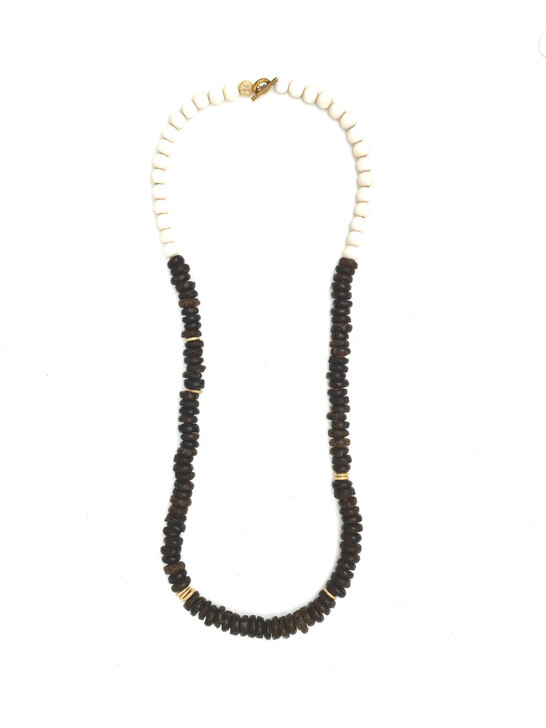 Glass Bead Necklace - brown