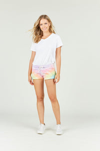 Burnout tie dye shorts