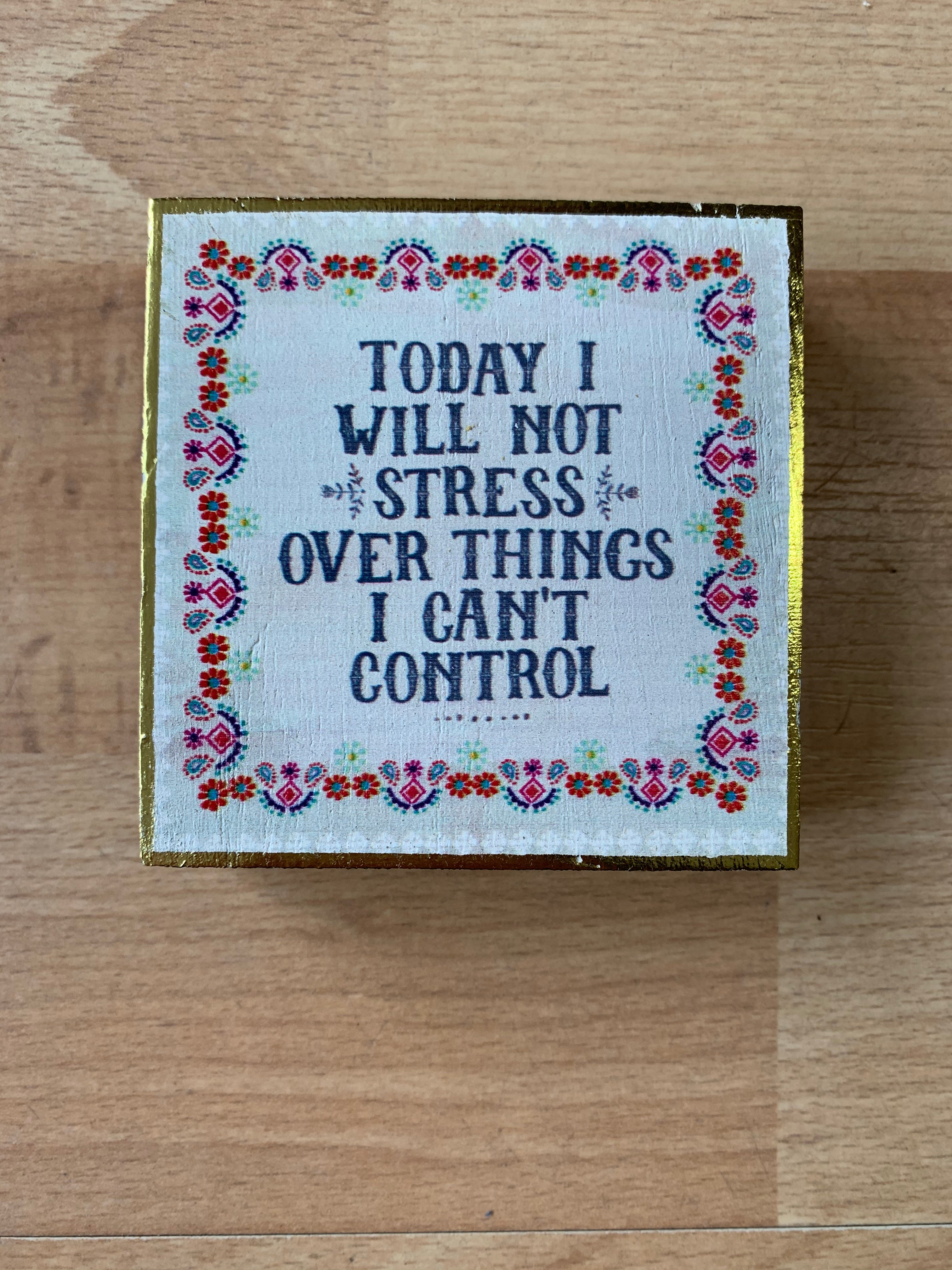 Today I Will Not Stress Over Things I Can't Control Tiny Block Sign Keepsake