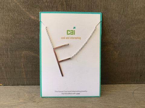 Large Silver Initial Necklace