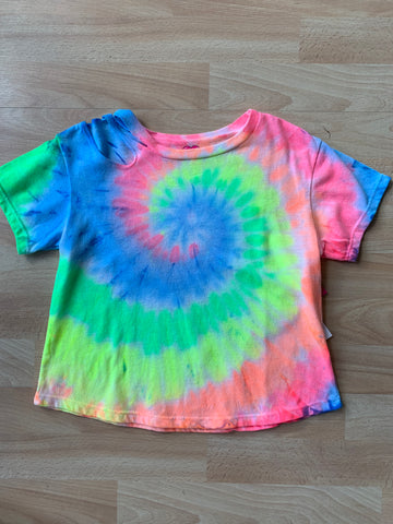 Neon Tie Dye Kids Crop Shirt